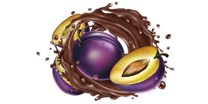 Fresh plums and a splash of liquid chocolate on a white background. Realistic vector illustration.