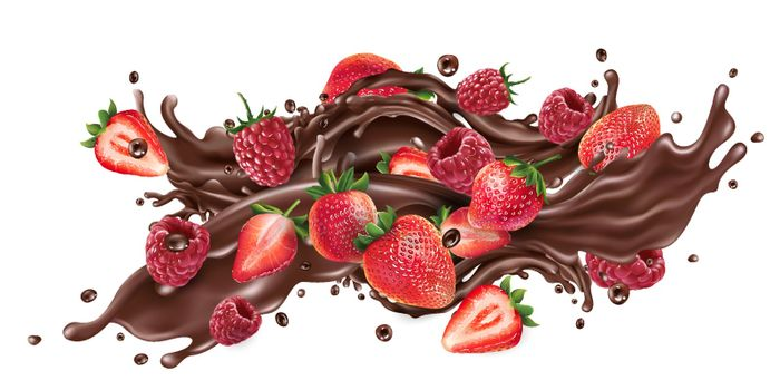 Fresh strawberries and raspberries and a splash of liquid chocolate on a white background. Realistic vector illustration.