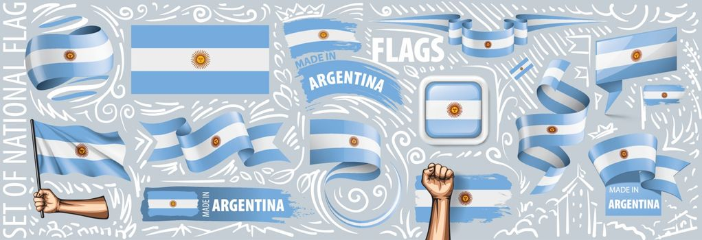 Vector set of the national flag of Argentina in various creative designs.