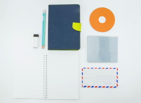 school supplies, stationery accessories on white background. Flat lay, top view
