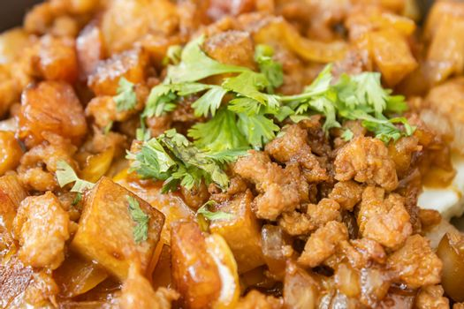 Stir Fried Pork with Onion and Garlic and Black Soy Sauce and Coriander Topping and Tofu with Natural Light in Close Up View