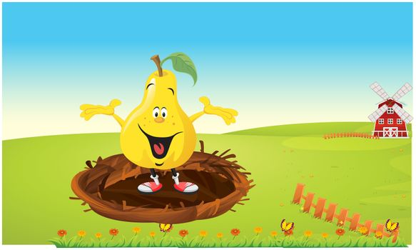 a fruit is dancing in a bird nest in the gardens
