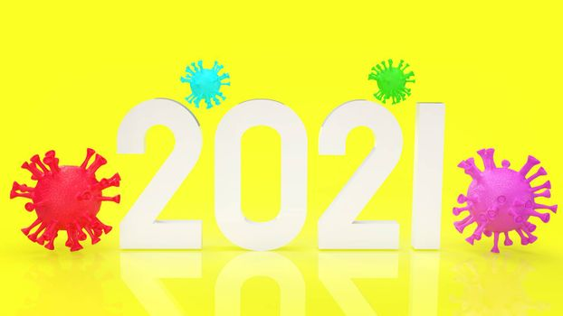 The virus multi colour and number 2021  on yellow background for medical content 3d rendering