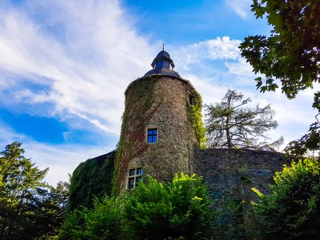 Tower of the medieval hill castle Schloss Landsberg in Germany