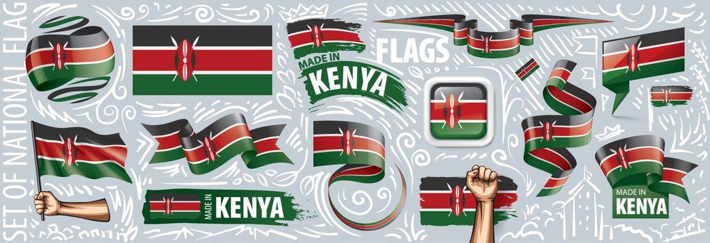 Vector set of the national flag of Kenya in various creative designs.