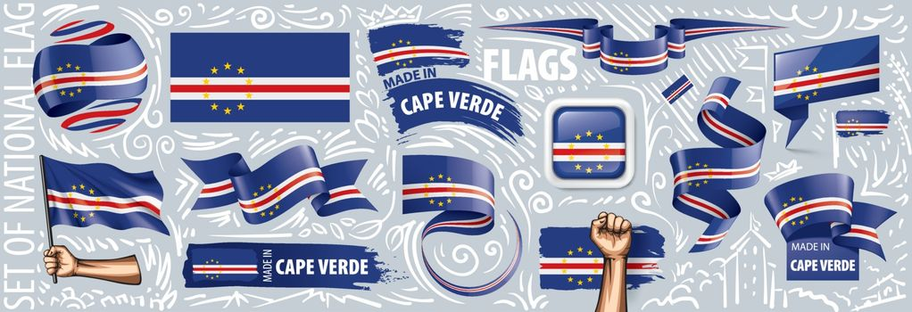 Vector set of the national flag of Cape Verde in various creative designs.