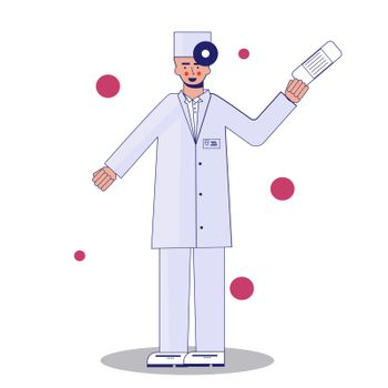 Young professional doctor in mask waving hand. Medical worker. Hospital staff. Cartoon character on white background. Vector illustration