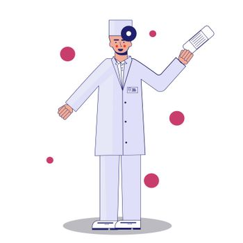 Young professional doctor in mask waving hand. Medical worker. Hospital staff. Cartoon character on white background. illustration
