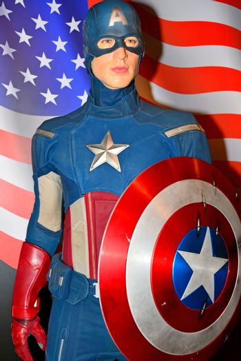 Chris Evans as Captain America wax figure at Madame Tussauds in