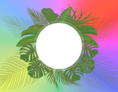 Leaves of tropical palm trees in pastel colors on a bright summer background. Monstera, agave, banana. Place for advertising, announcements. Vector illustration