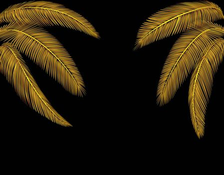 Tropical Different shaped golden palm leaves. At both sides. Isolated on a black background without mesh and gradient. Vector illustration