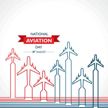 National Aviation Day which is Celebrated in United States in August 19 Concept . Design for poster, greeting card, banner,background.