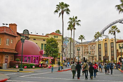 Hollywood theme surrounding buildings at Universal Studios Japan