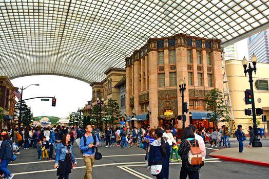 Hollywood theme various buildings at Universal Studios Japan in