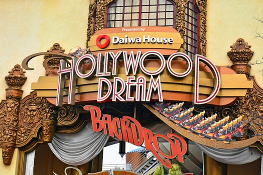 Hollywood dream backdrop sign at Universal Studios Japan in Osak