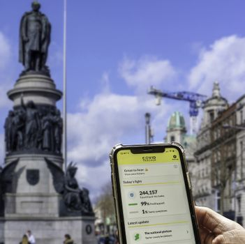 The new Covid Tracing App launched by the Health Service Executive in the Republic of Ireland. Over one million people have downloaded the app.