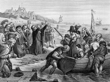 An engraved illustration of the Pilgrim Fathers leaving England