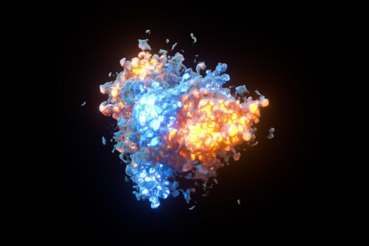 Explosive flame with dark background, 3d rendering.