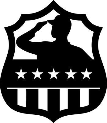American Veteran Soldier Saluting USA Stars and Stripes Flag Crest Black and White