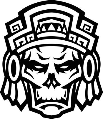 Aztec Warrior Skull Viewed From Front Mascot Black and White