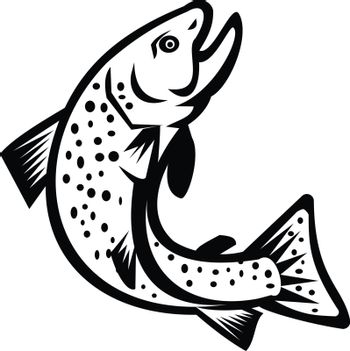 Brook Char Trout Jumping Up Retro Black and White