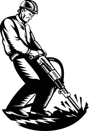 Construction Worker with Jack Hammer Pneumatic Drill Woodcut Retro Black and White