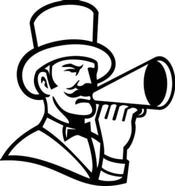 Circus Ringleader or Ringmaster with Bullhorn Mascot Black and White