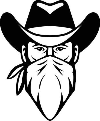 Bandit Outlaw Face Mask Black and White