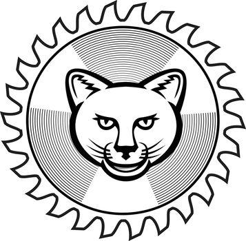 Smiling Cougar Circular Saw Blade Icon Retro