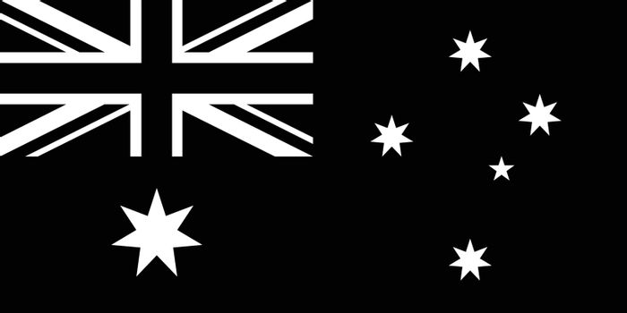 Black and white or monochrome flag of the state, nation or country of Australia on isolated background.