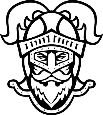 Knight Head Wearing a Helmet with Ostrich Plumage Front Mascot Black and White