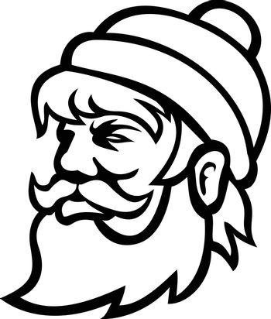 Head of Paul Bunyan Lumberjack Side View Mascot Black and White