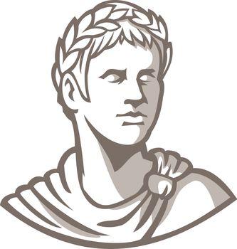 Ancient Roman Emperor Bust Mascot
