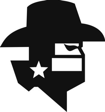 Texan Bandit Wearing Mask With Texas Flag and Map Black and White