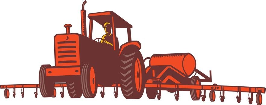 Retro style illustration of farm tractor pulling an anhydrous ammonia or nitrogen tank and fertilizer applicator applying the anhydrous to a field on isolated background.