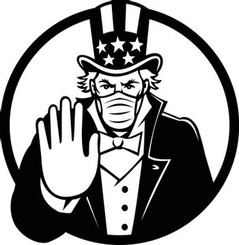 Uncle Sam Wearing Mask Stop Hand Signal Black and White
