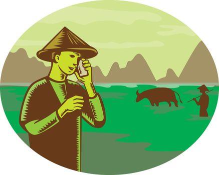 Vietnamese Farmer on Mobile Phone Woodcut