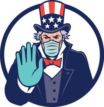 Uncle Sam Wearing Mask Stop Hand Signal Mascot