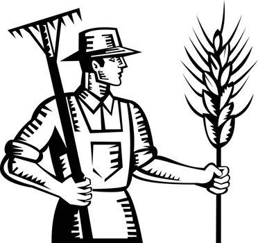 Wheat Farmer Holding a Rake and Cereal Grain Stalk Retro Woodcut