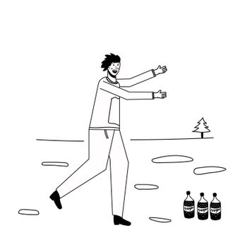 Soda addiction concept illustration. The man runs to the soda bottles. An unhealthy lifestyle, unhealthy diet, and a sweet tooth. illustration. Lines