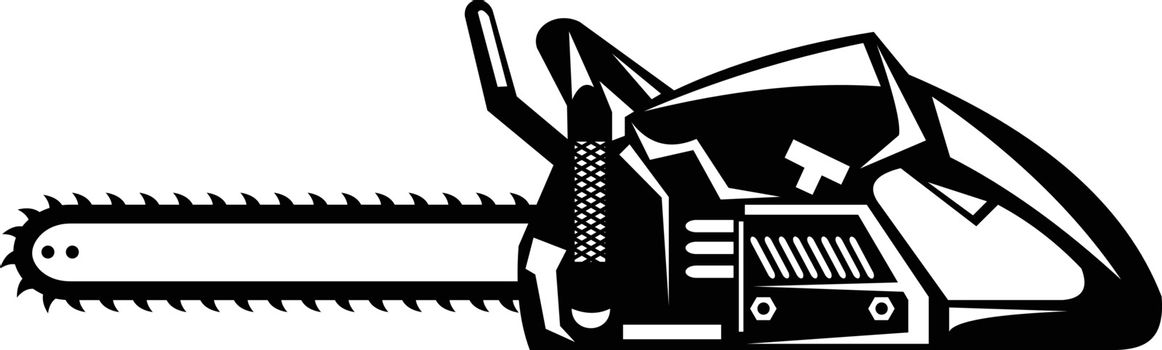Chainsaw Viewed From Side Retro Black and White