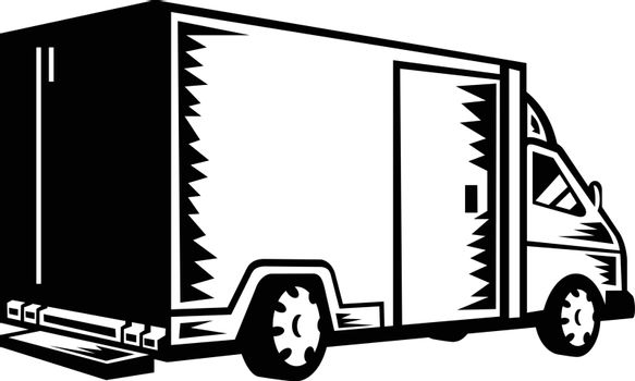 Delivery Van Viewed from Rear Retro Woodcut Black and White