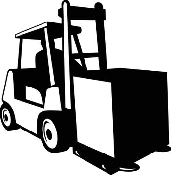 Forklift Truck in Operation Viewed from Front Retro Black and White