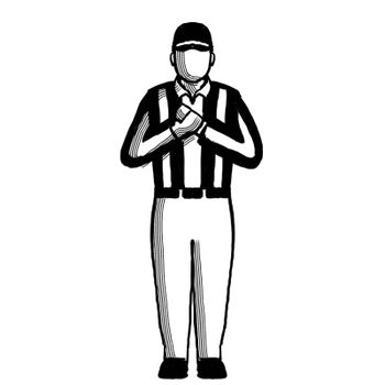 American Football Official holding sign Hand Signal Retro