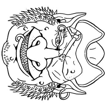 Pirate Goblin Front View Portrait Cartoon Retro Drawing