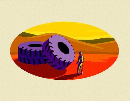 Mining Truck Tire Oval Retro