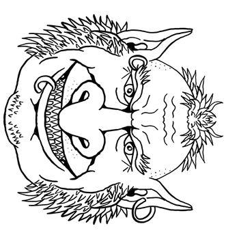 Goblin Front View Portrait Cartoon Retro Drawing