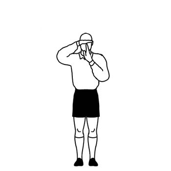 Rugby Referee penalty refer to TV Match Official Signal Drawing Retro
