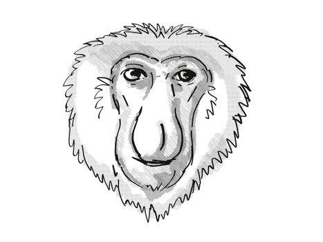 Proboscis Monkey Endangered Wildlife Cartoon Retro Drawing