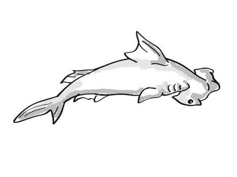 scalloped hammerhead or Sphyrna lewini Endangered Wildlife Cartoon Mono Line Drawing